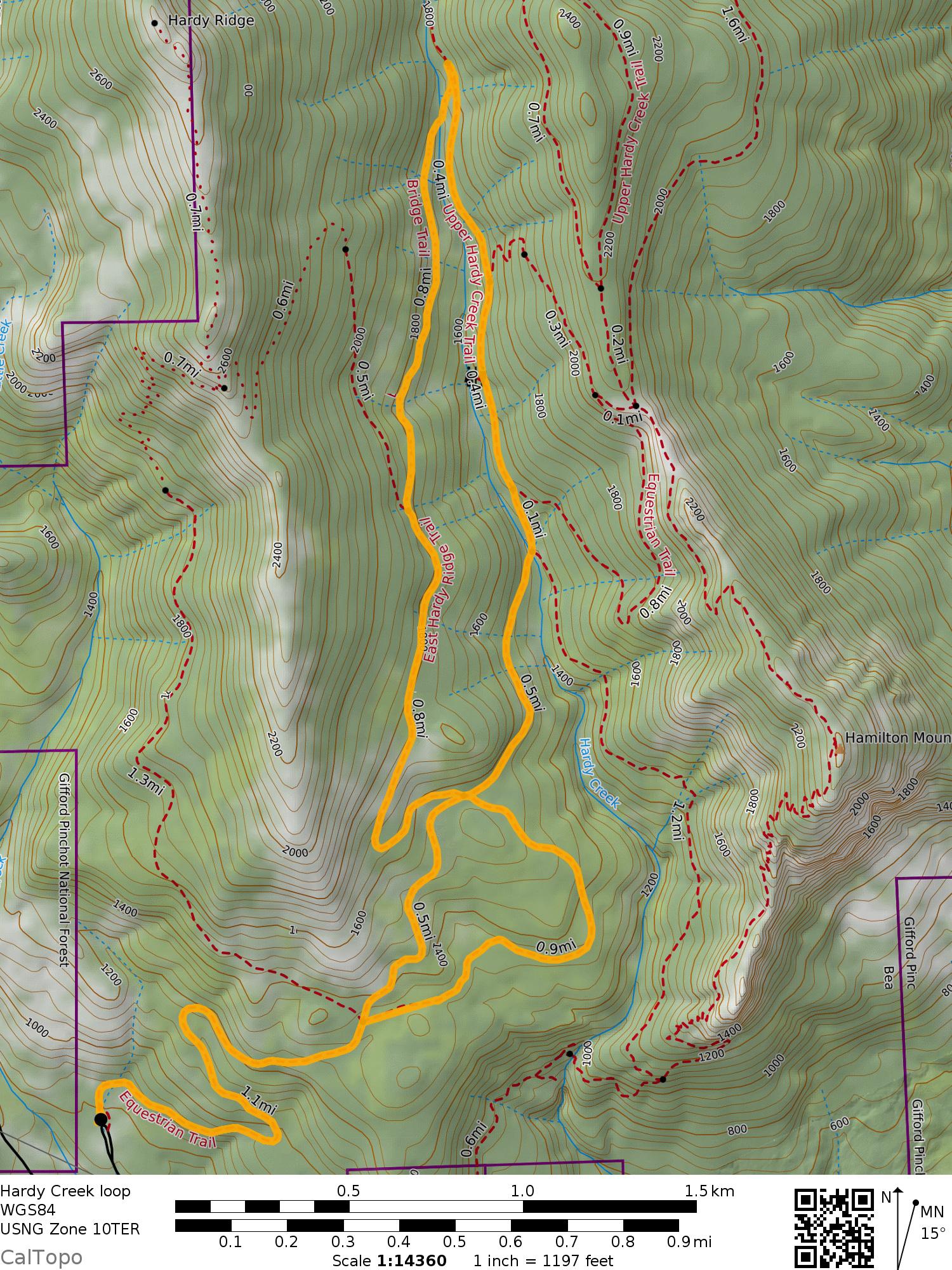 Hardy Creek loop map
