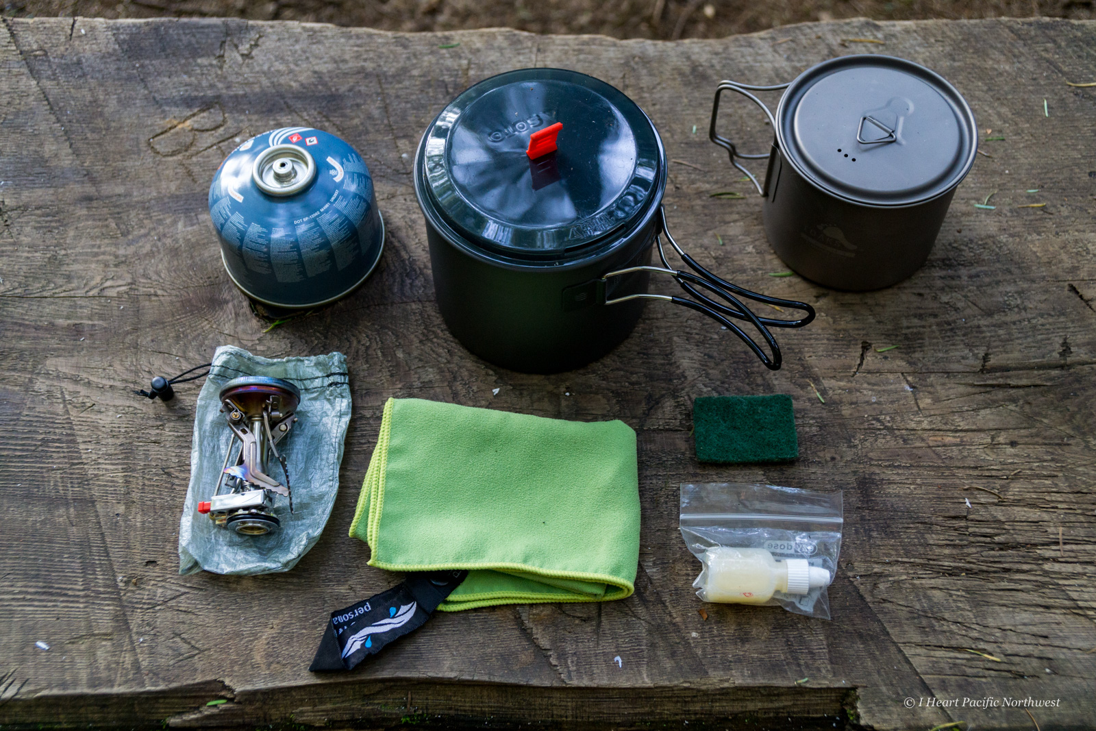 backpacking stove setup