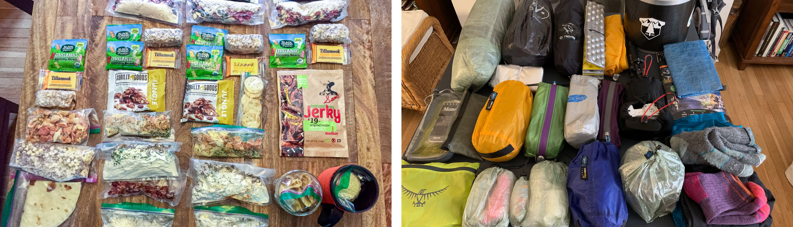 prepare gear and food for backpacking