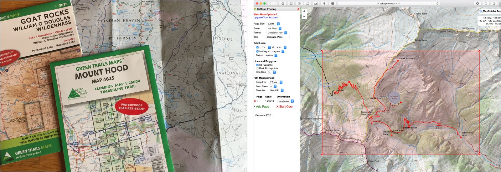 prepare maps for backpacking