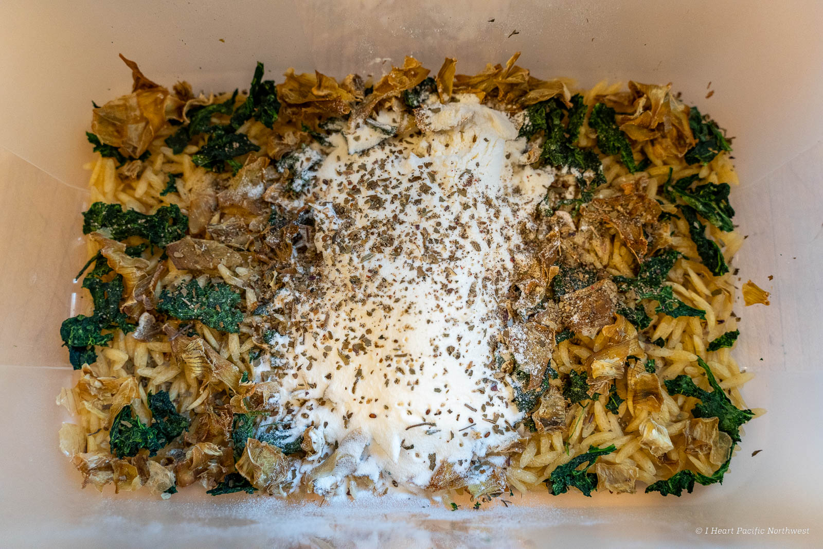 backpacking recipe: Artichoke Spinach Alfredo Orzo